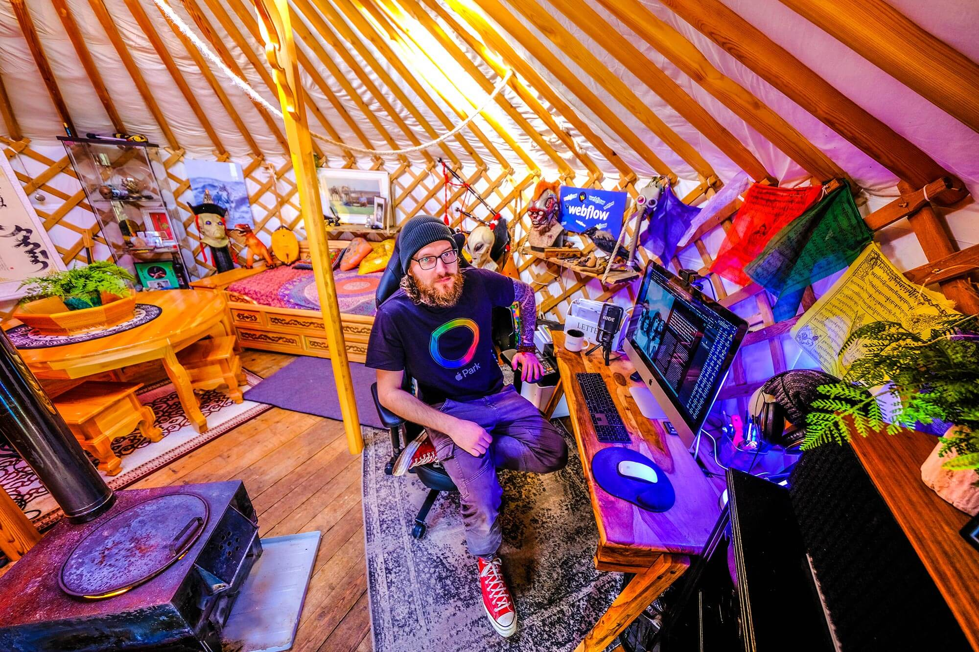 Rowan posing for a photo in his studio