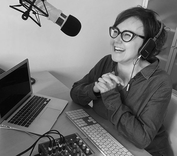 Photo of Kristina Halvorson in her podcast booth