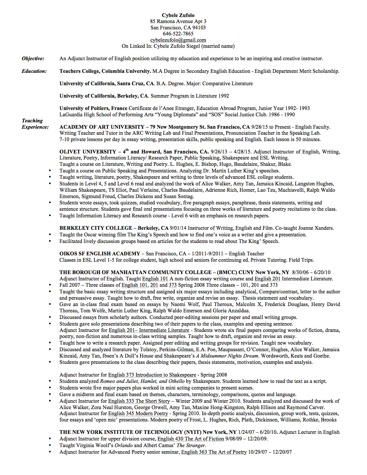 Resume - Teaching Pg1