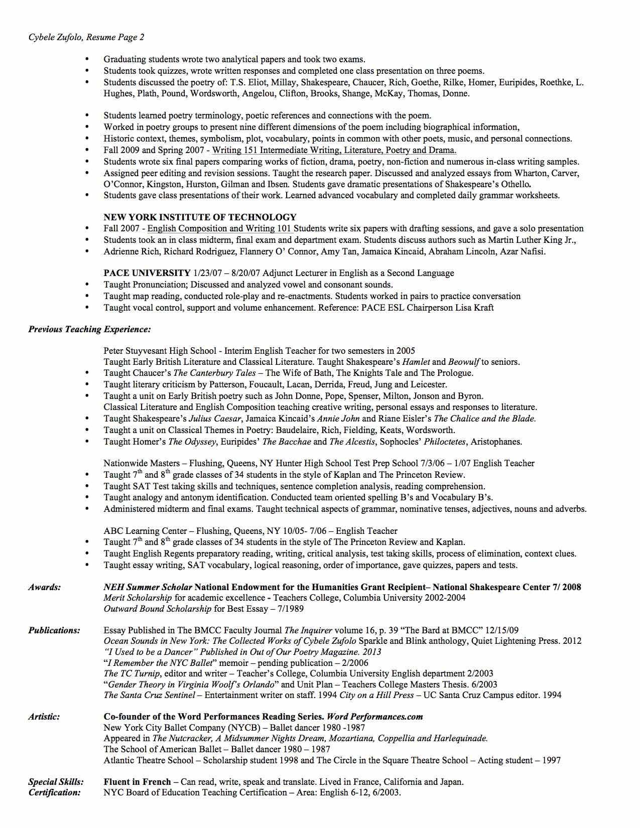 Resume - Teaching Pg2