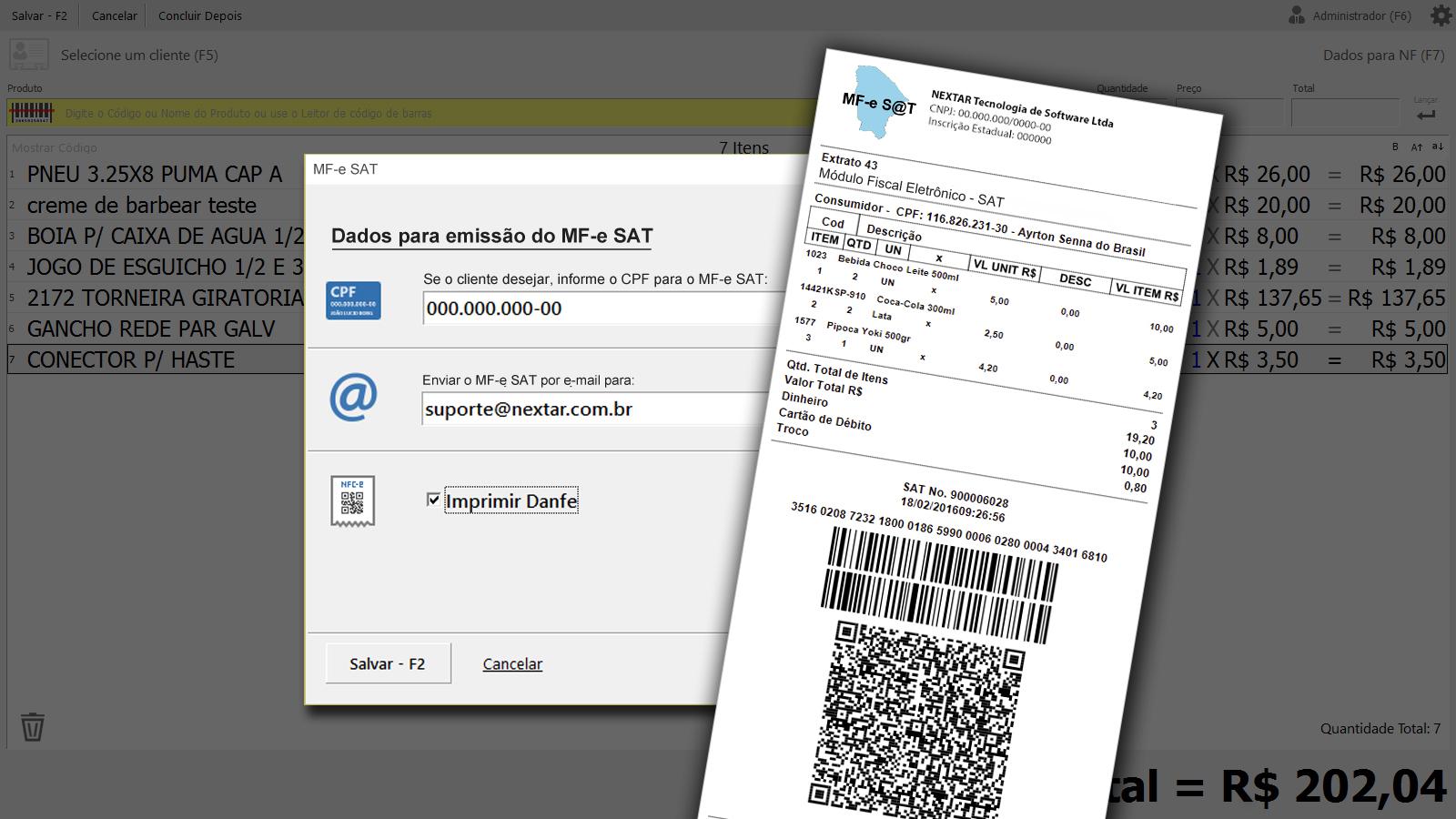 Clique para ver o modelo de DANFE SAT NFC-e do Programa NEX