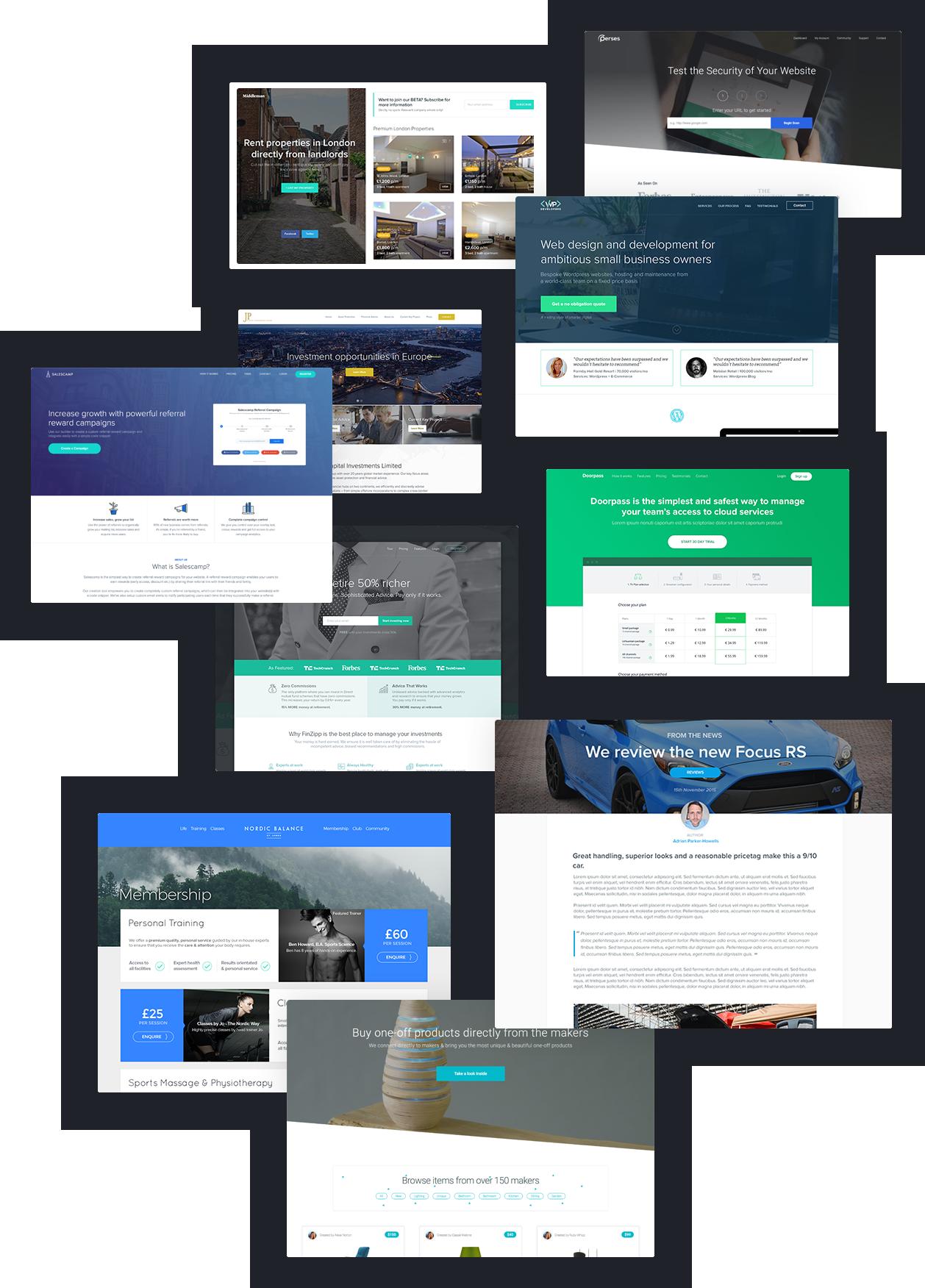 Web design sample layouts