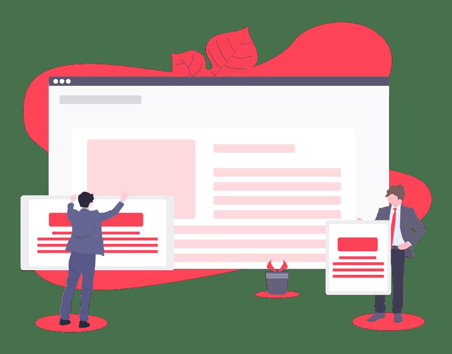 illustration of new website design team