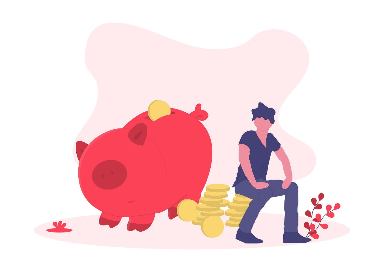 illustration of man sitting on piggy bank