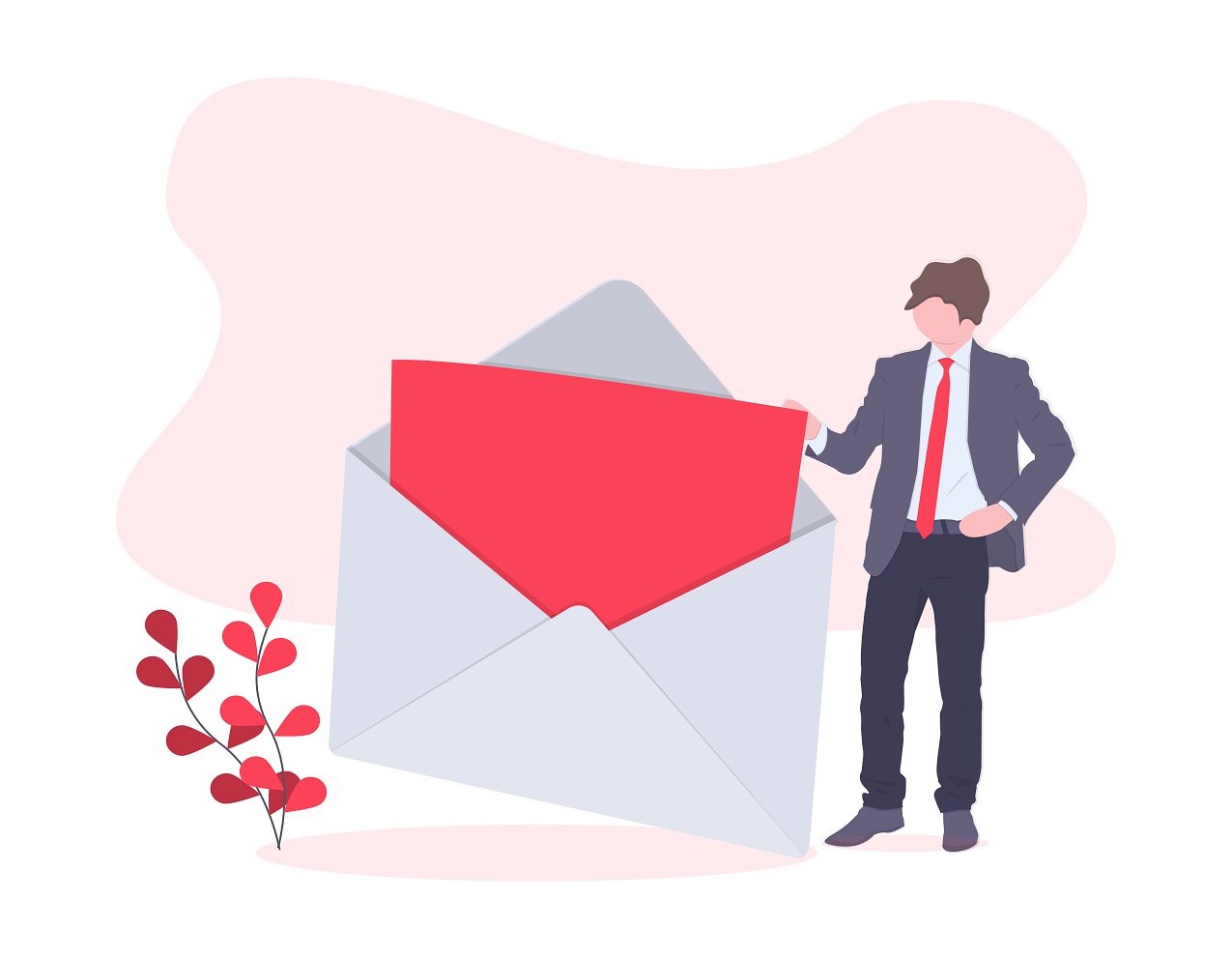 illustration of person holding envelope