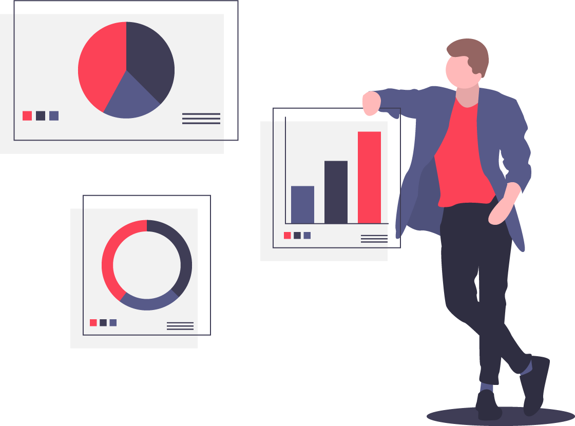 illustration of person leaning on analytics