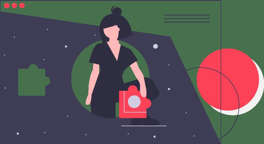 illustration of girl designing blog website