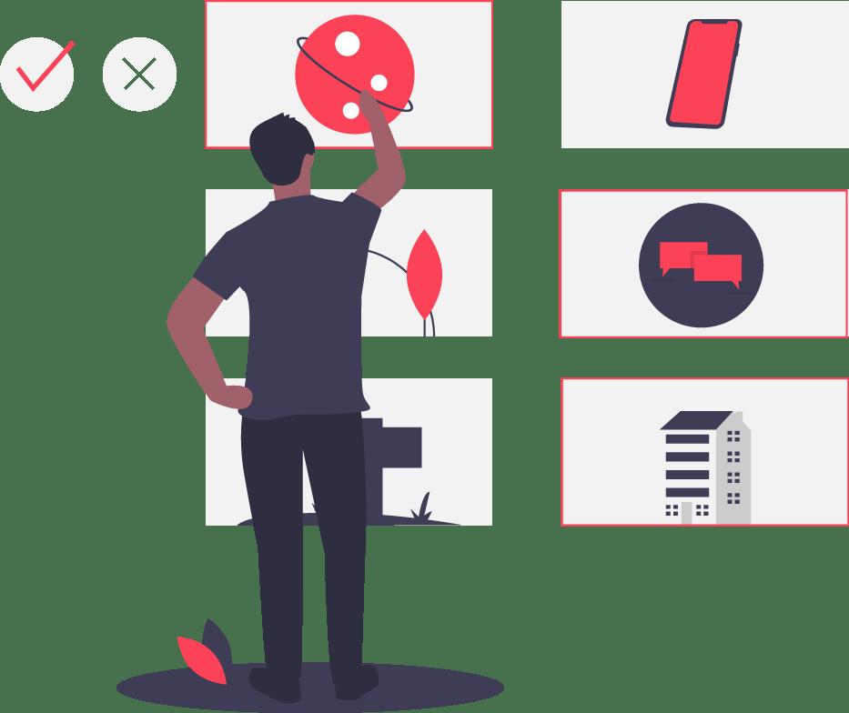 illustration of guy choosing options