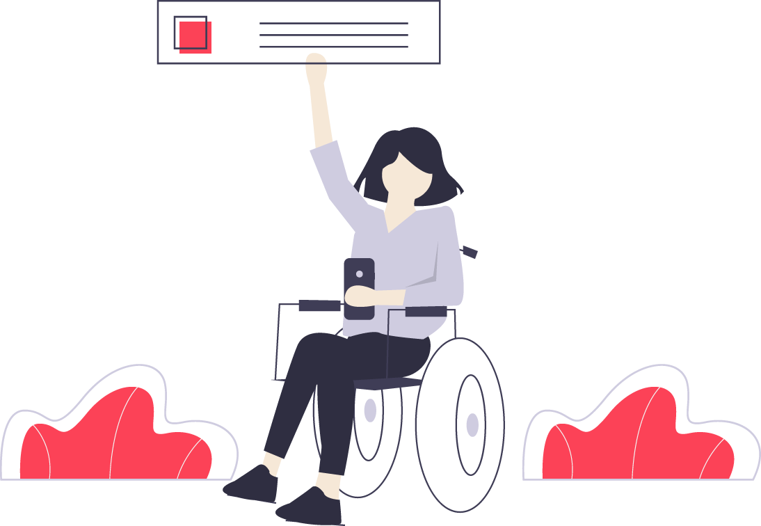person in wheelchair holding website