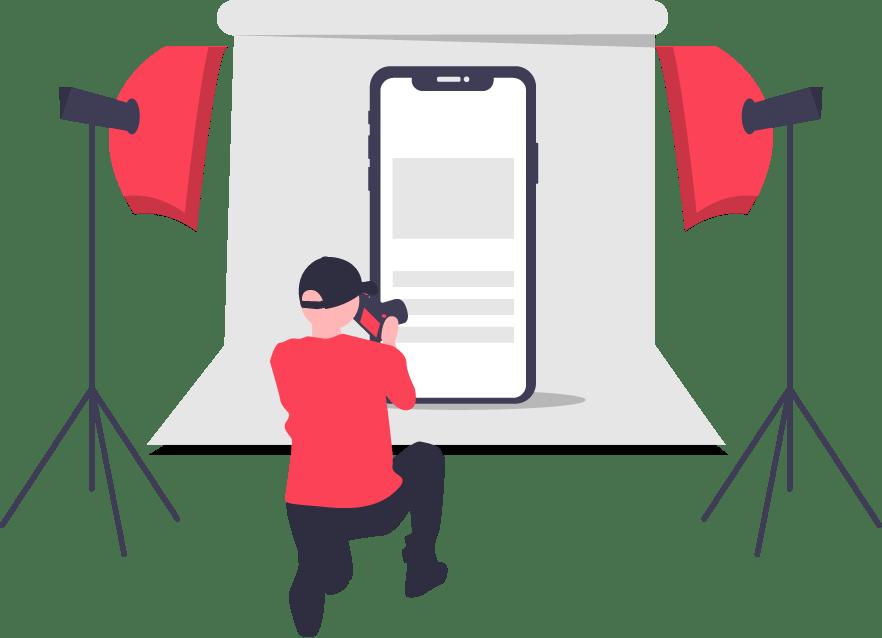 illustration of man shooting camera