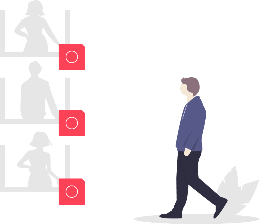 illustration of person looking at items