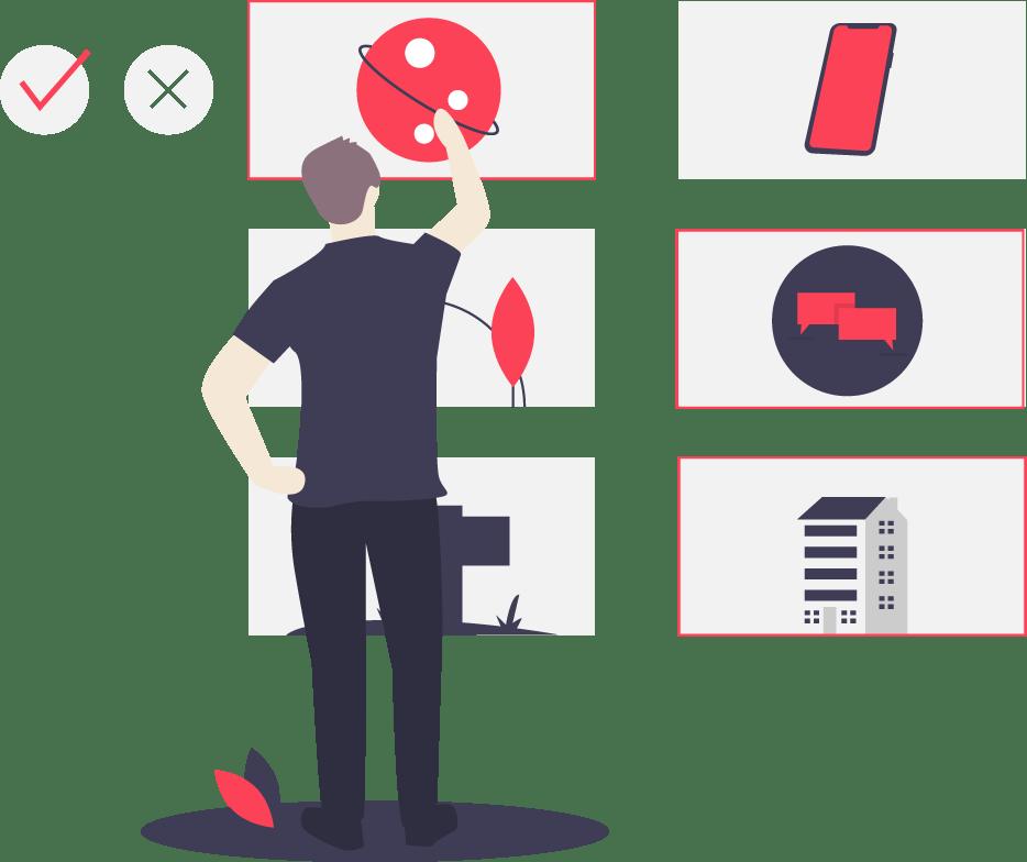 illustration of person choosing item