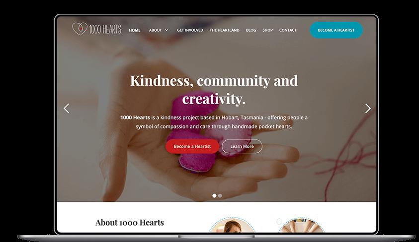laptop showing 1000 hearts website