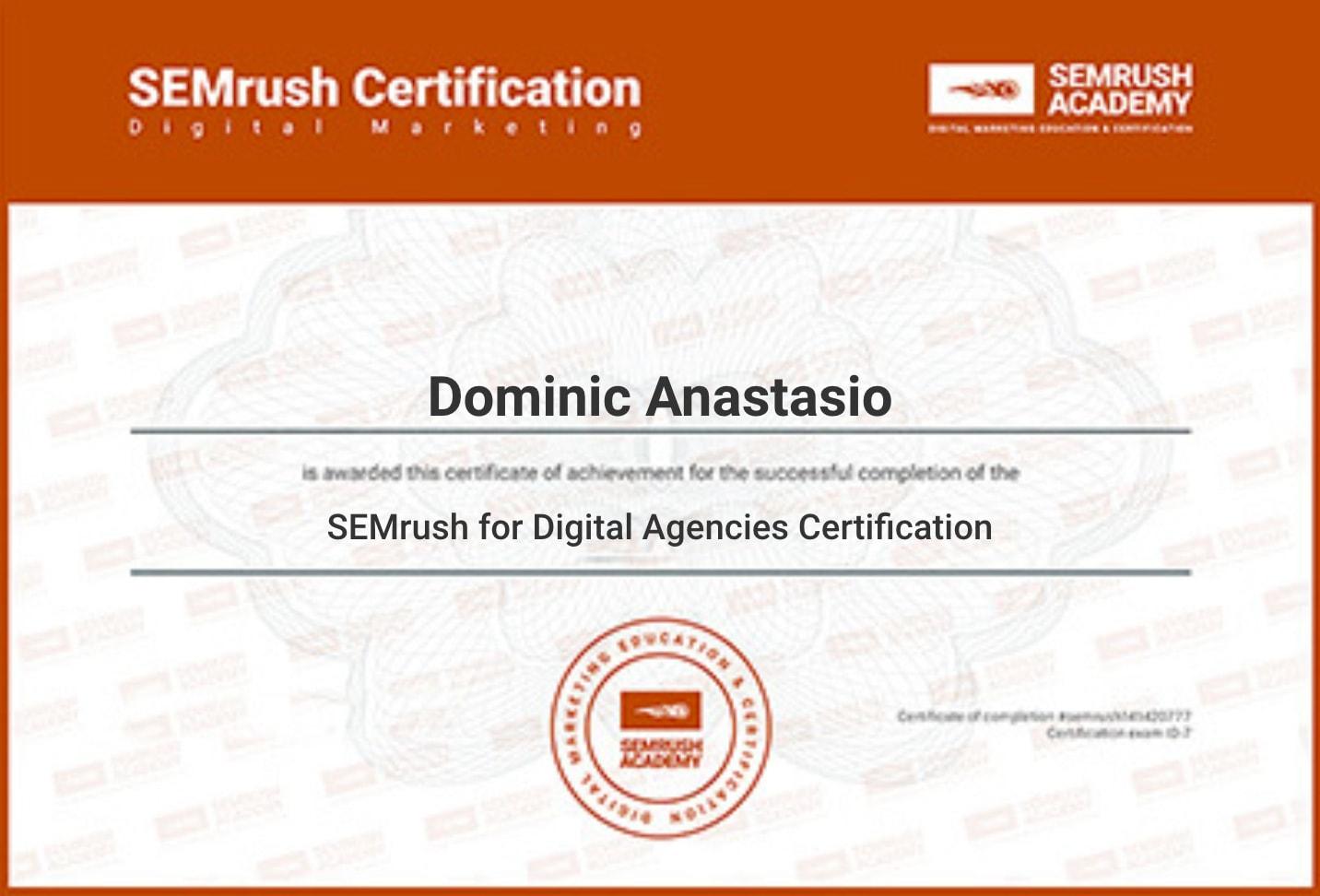 certificate of SEM rush