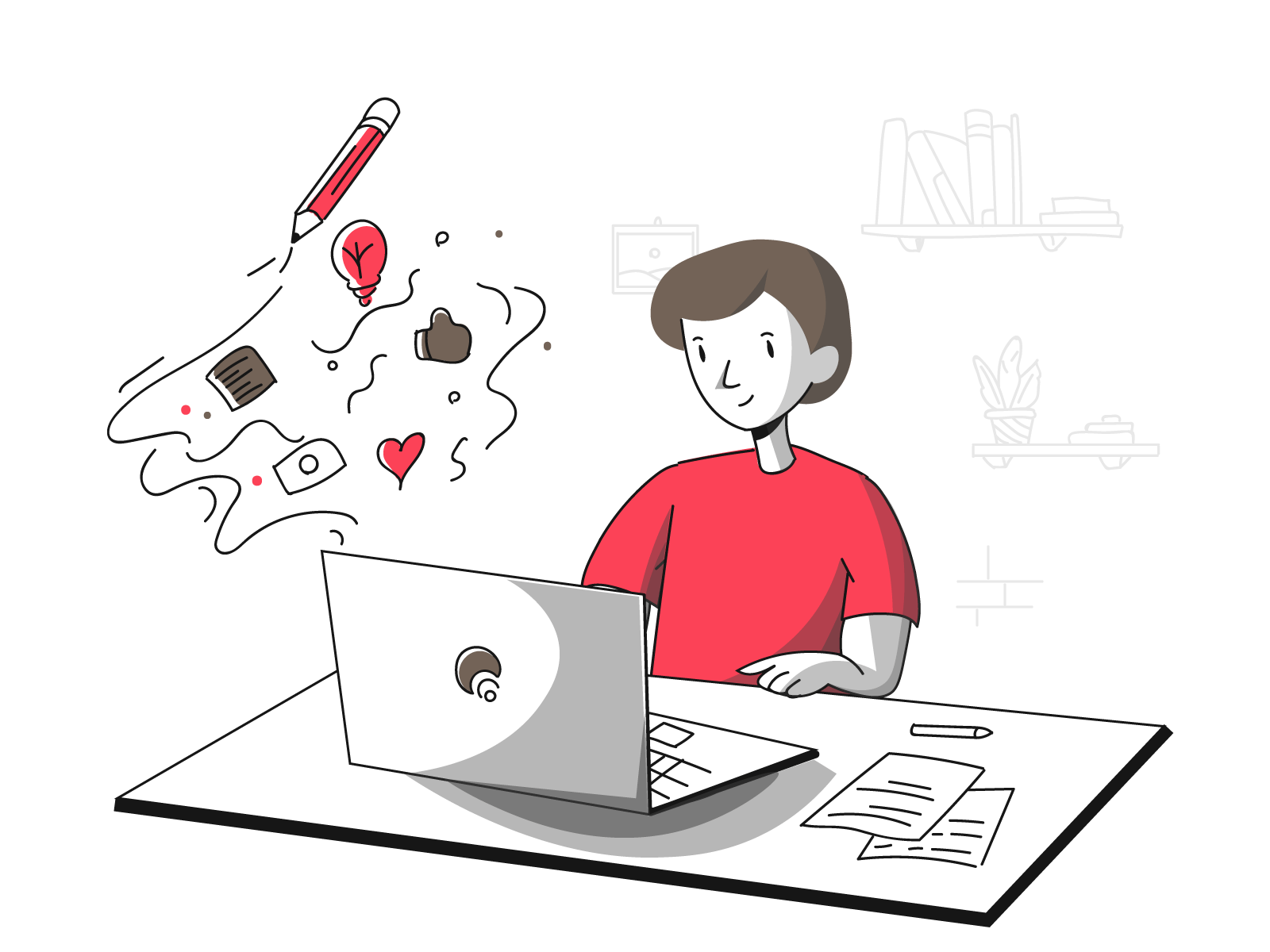 illustration of person in red top sitting at computer desk working