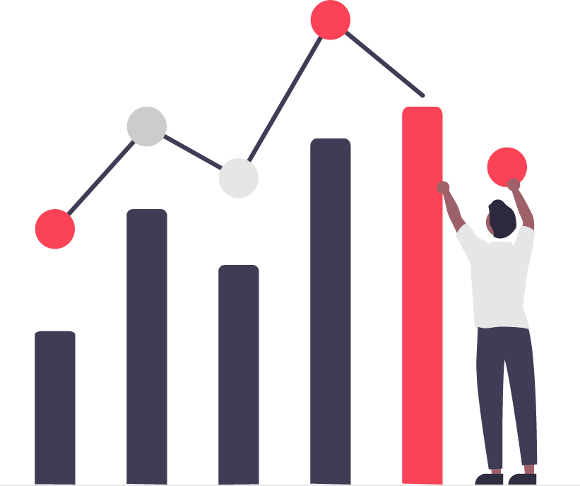 illustration of a person working on a bar chart