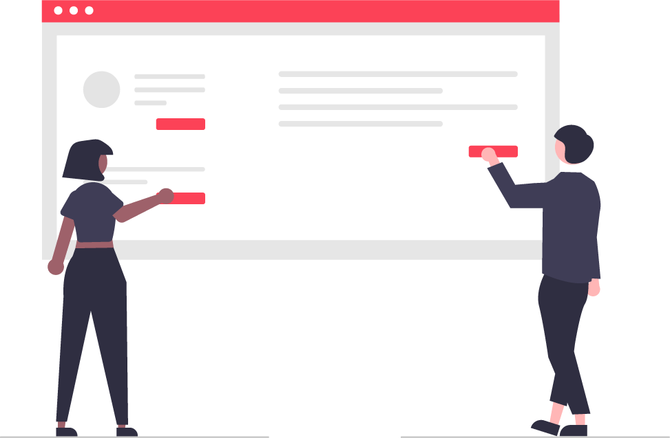 illustration of two people working on a website seo
