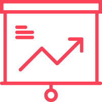 red icon of a chart pointing upwards