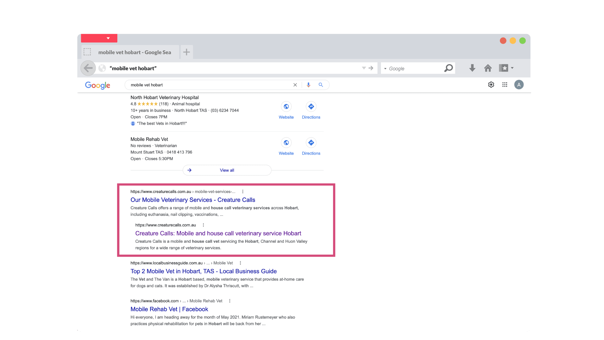 screenshot showing creature calls as page one of google