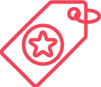 red icon of a star in a price tag
