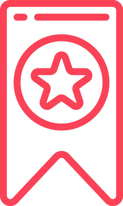 red icon of a star in a banner