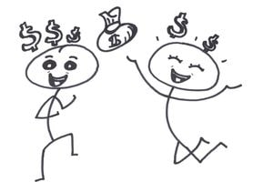 Two buddies being happy about having earned money  together during OhmHours with the buddy program