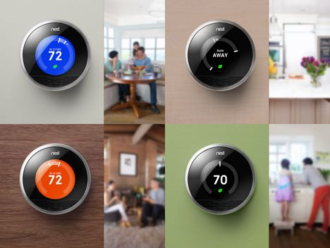 nest thermostat from Google connected on different surfaces and in different rooms
