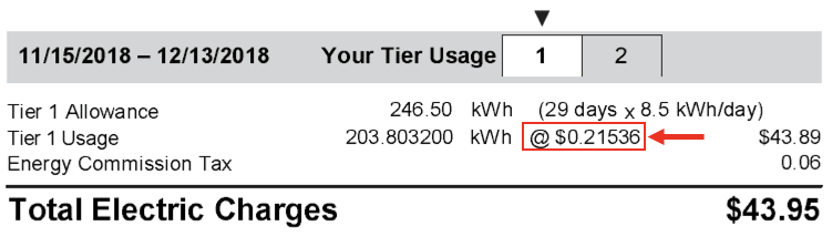 Utility bill showing the costs per kwh comparison to PowerPass