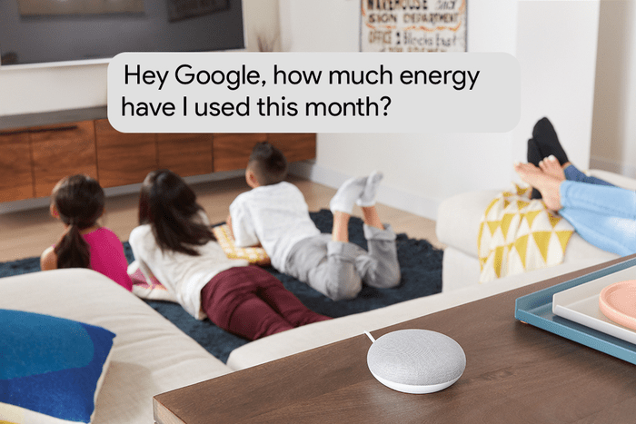 Google Home Mini on a wooden surface in a living room showing three kids laying on a carpet watching TV