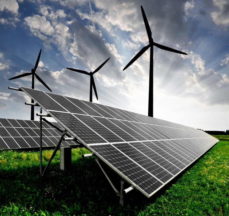 clean energy portrayed as solar and wind power for the smart power program