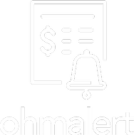 OhmAlert logo with a calculator and bell icon
