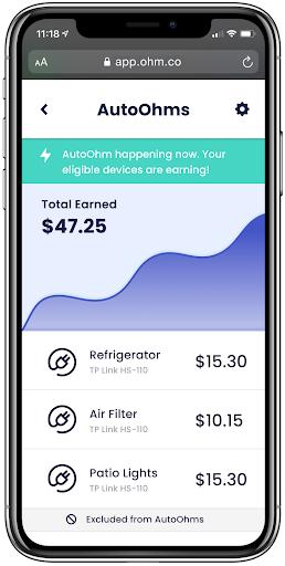 autoohms dashboard on a phone