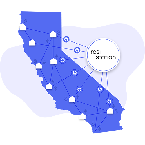 California map in blue showing a grid of houses and OhmConnect logos portraying resi-station