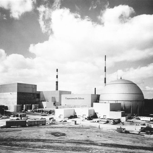 first nuclear power plant picture in black and white showing the history of energy