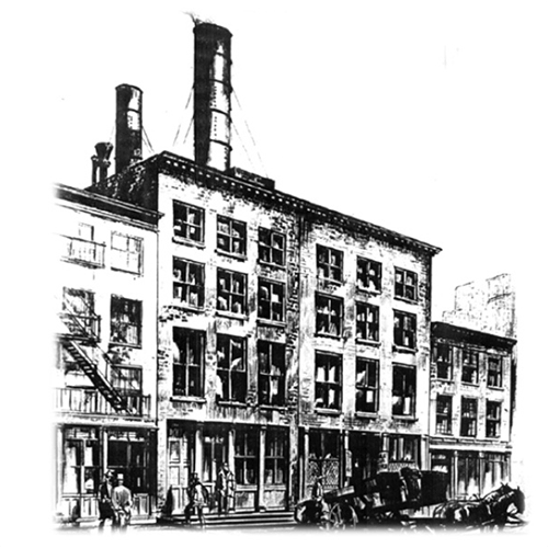 black and white image of the first power plant in the US showing the history of energy
