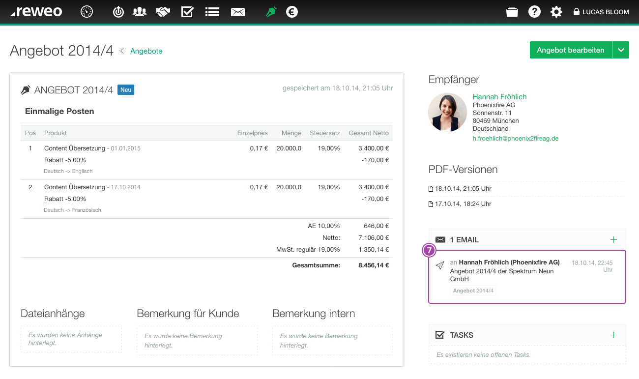 Angebot Email versendet