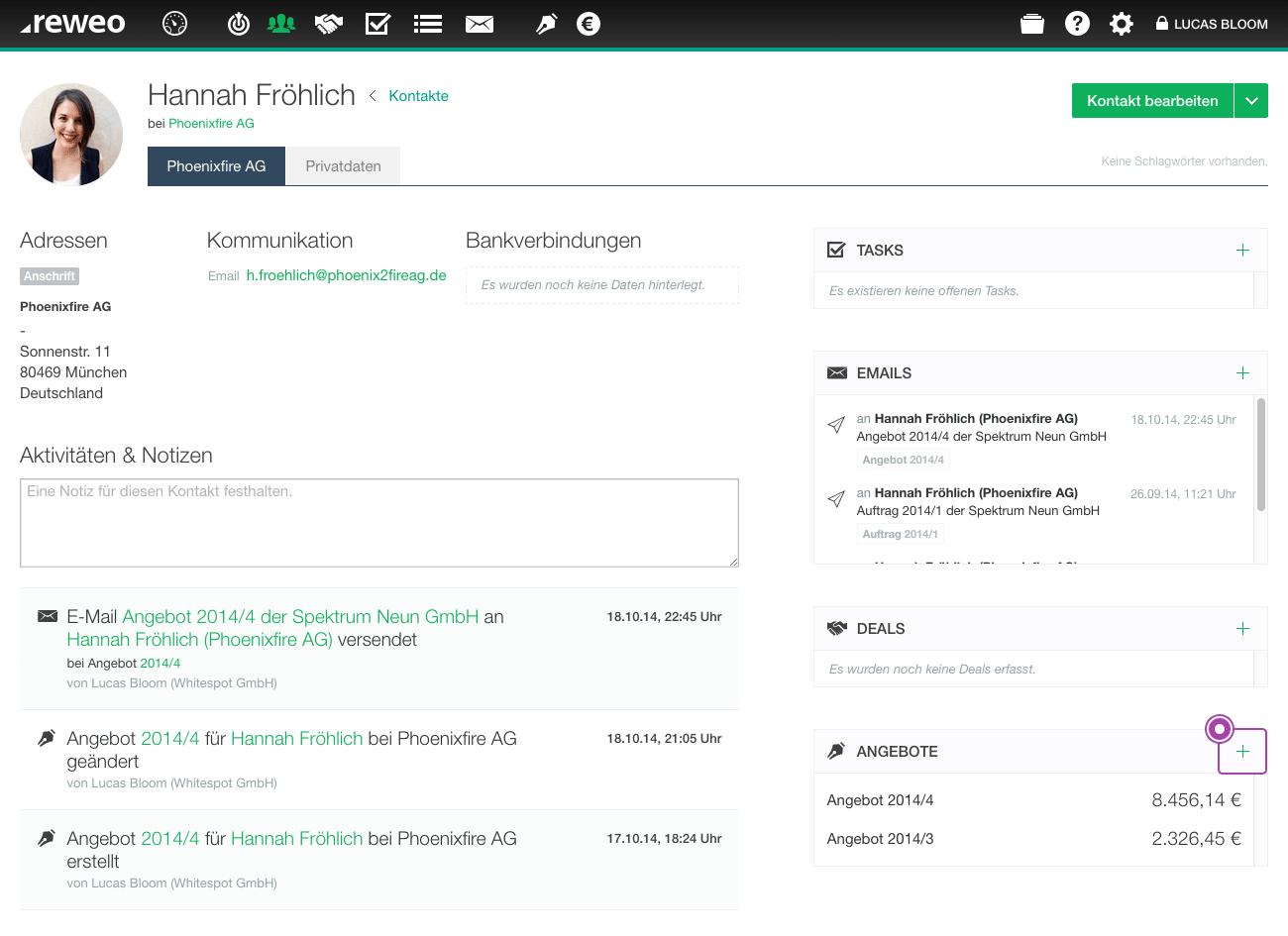 Angebot bearbeiten Kontaktseite
