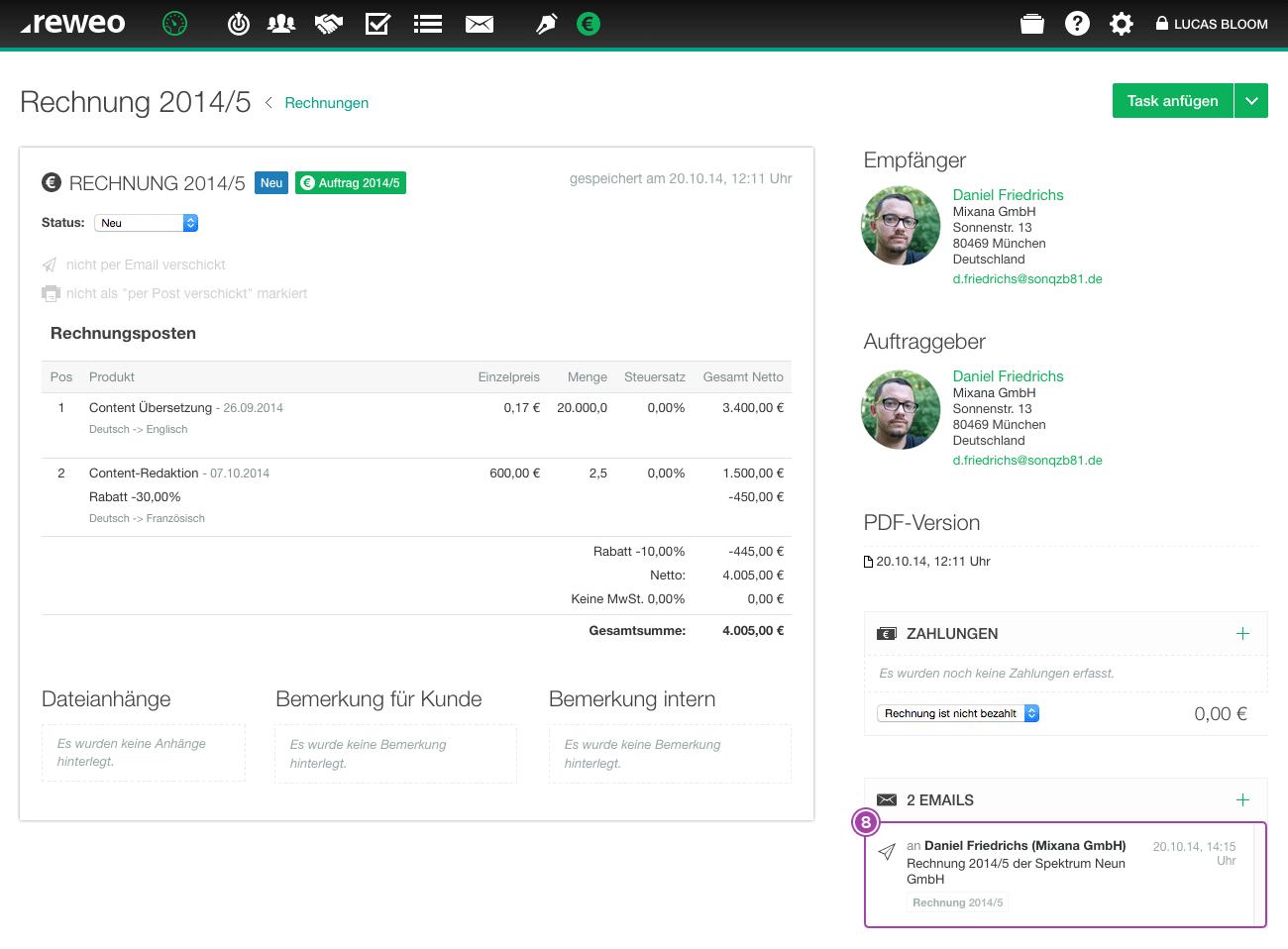 Rechnung Email versendet