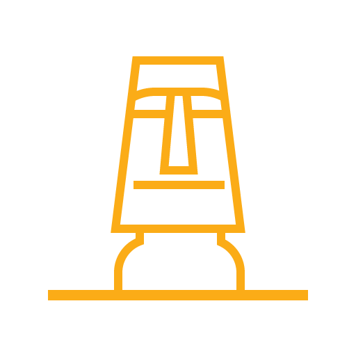 Moai icon (chilean statue of Easter Island) in color yellow.