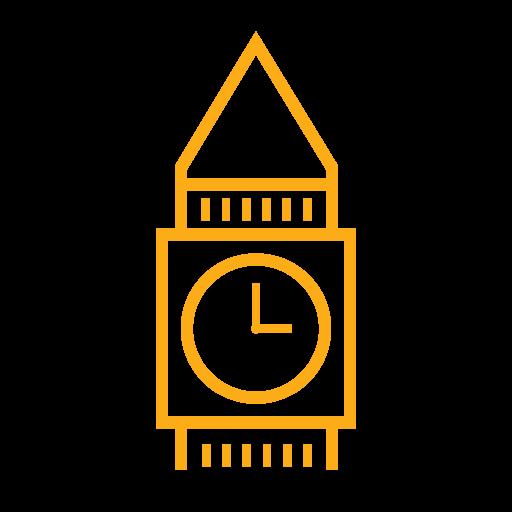 Big Ben icon (london building)  in color yellow.