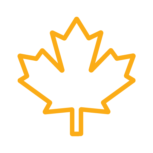 Canadian Maple Leaf icon in color yellow.