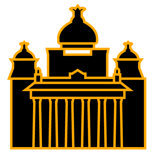 Bangalore city icon in color yellow.
