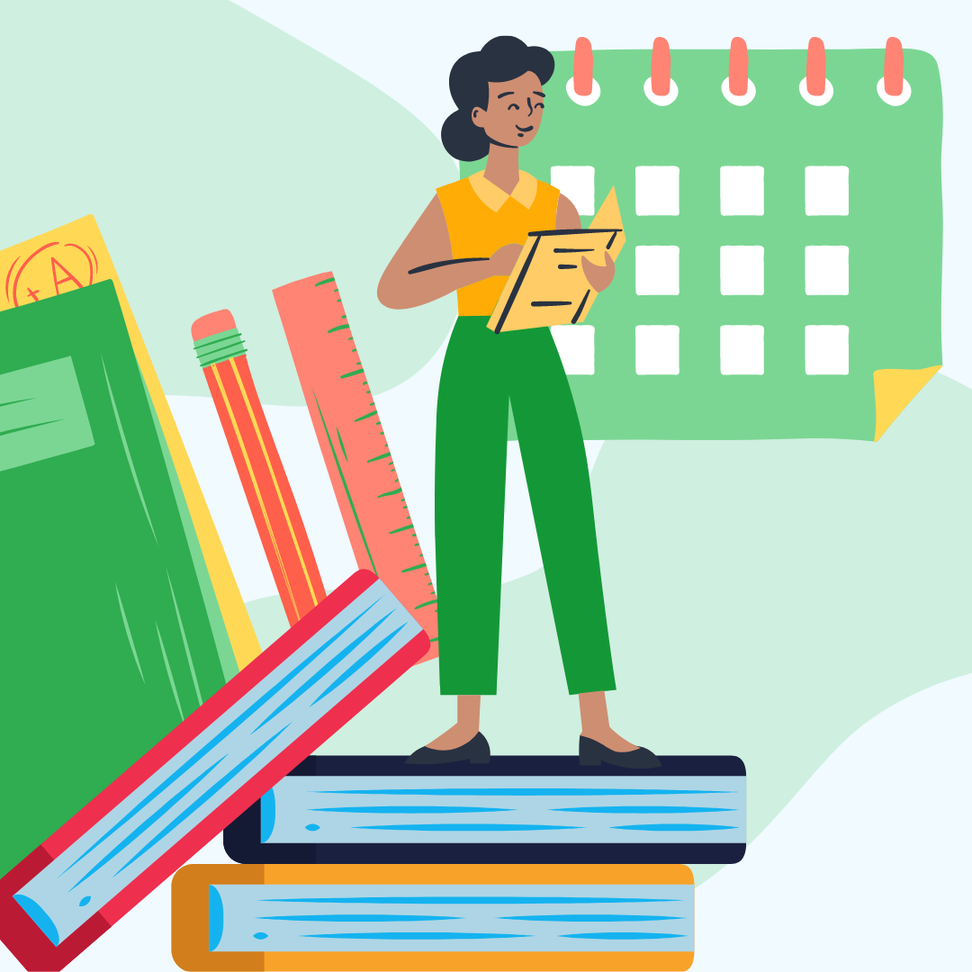 Illustration of a female teacher on books standing on books while taking attendance with an icon of a green calendar behind