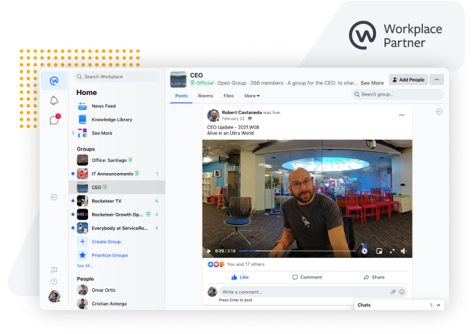 ServiceRocket CEO Rob Castaneda broadcasting a company meeting via Workplace From Facebook