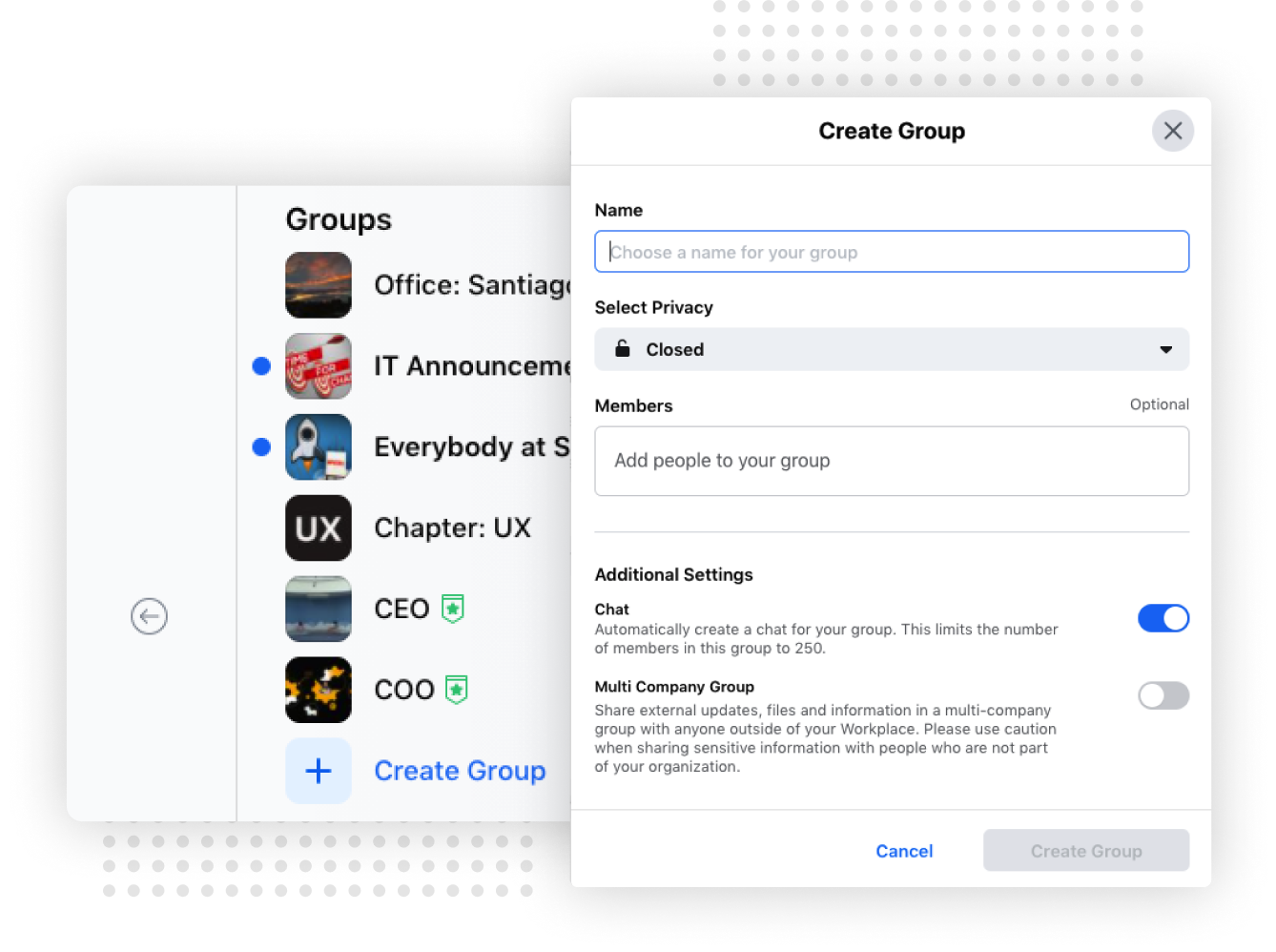Form for creating a Workplace From Facebook Group