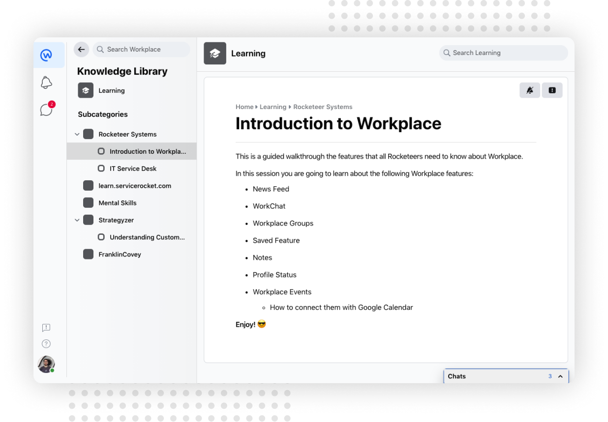 Screenshot of Knowledge Library (A learning introduction to Workplace from Facebook by ServiceRocket)