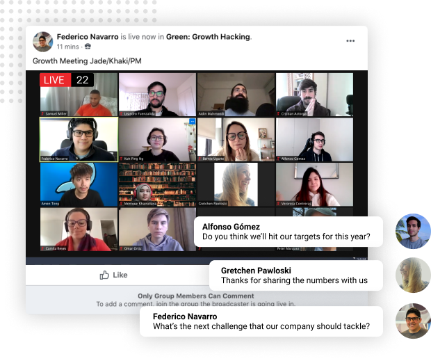 Workplace from Facebook Live and Recorded Company Meeting Transmission