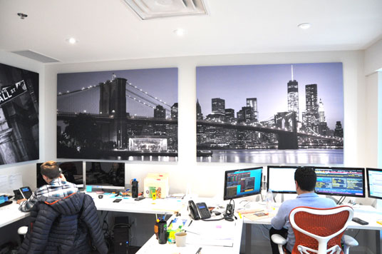 acoustic wall panel with picture of toronto on acoustic panel