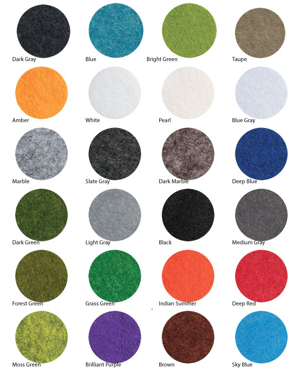PET Acoustic Felt colors - TheQuietRoom.ca