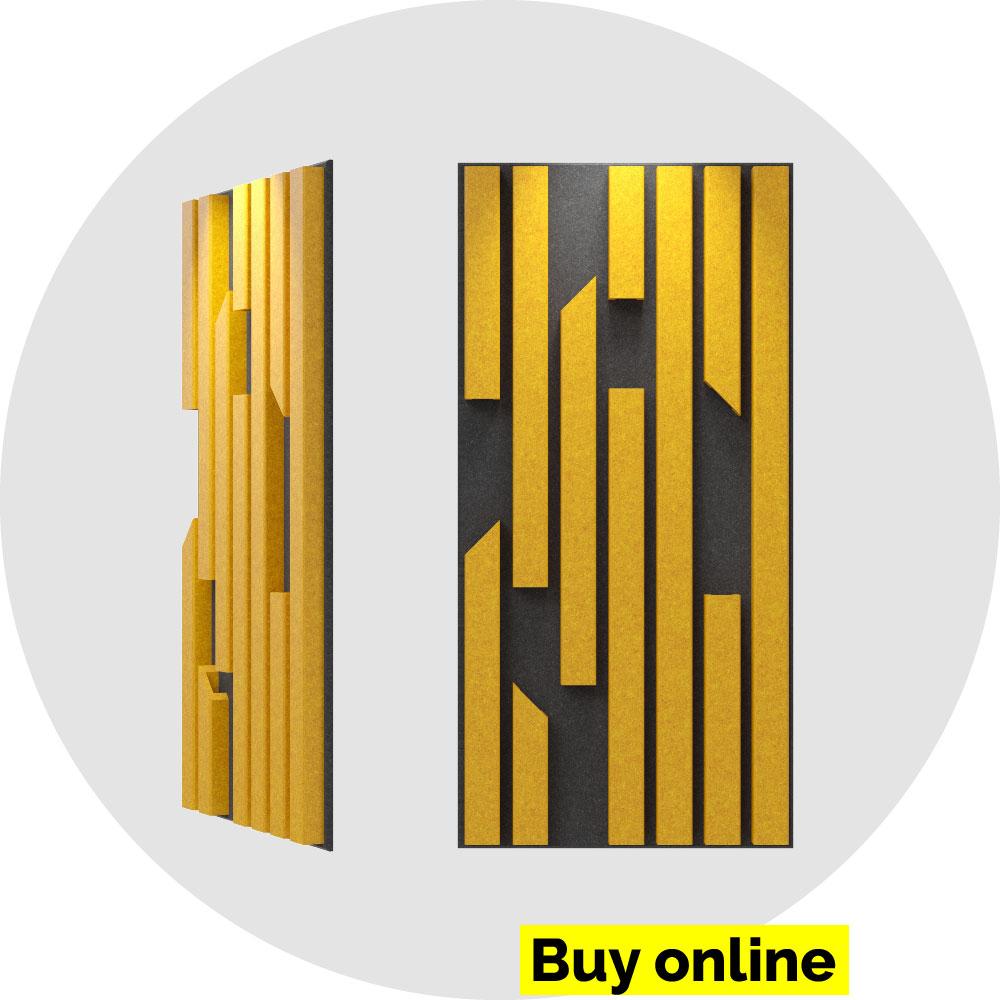 acoustic panel 2x4 bars - amber on slate
